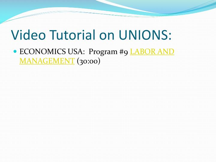 Video Tutorial on UNIONS:
