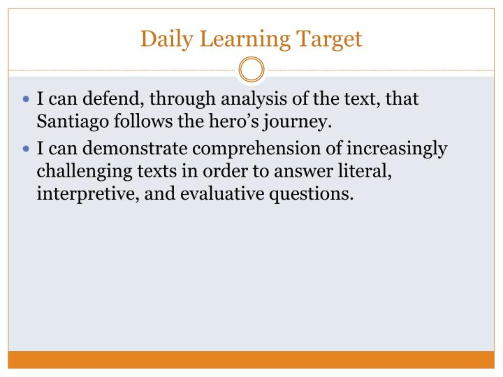 Daily learning target