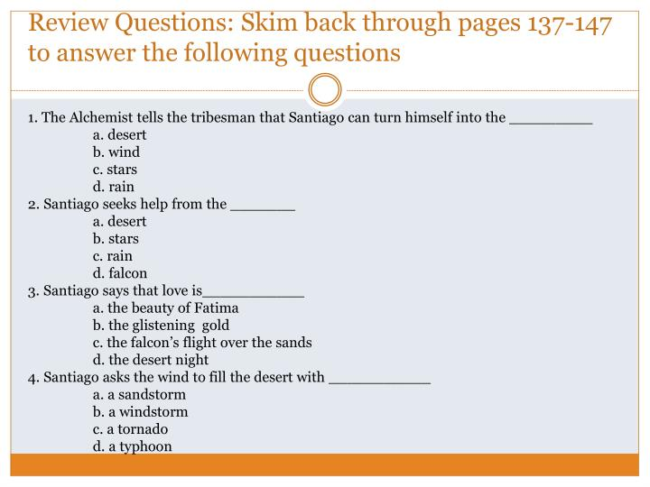 Review questions skim back through pages 137 147 to answer the following questions