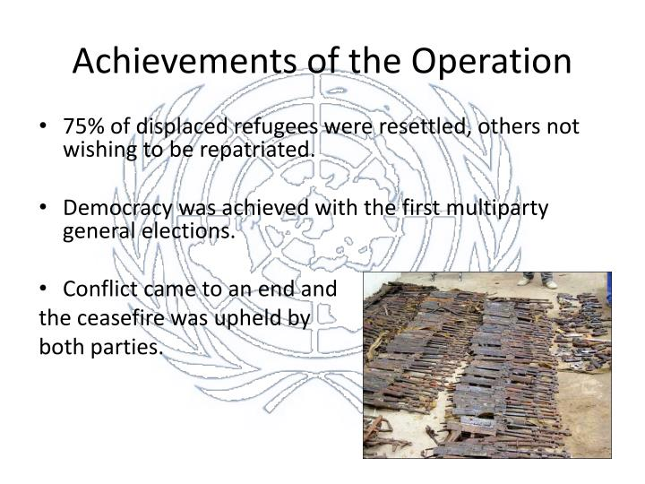 Achievements of the Operation
