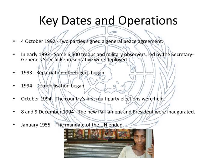 Key Dates and Operations