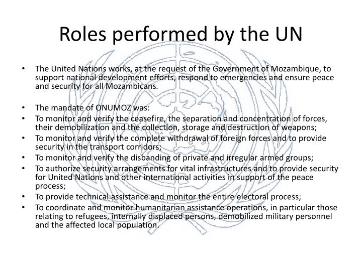 Roles performed by the UN