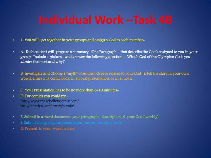 Individual Work –Task 4B