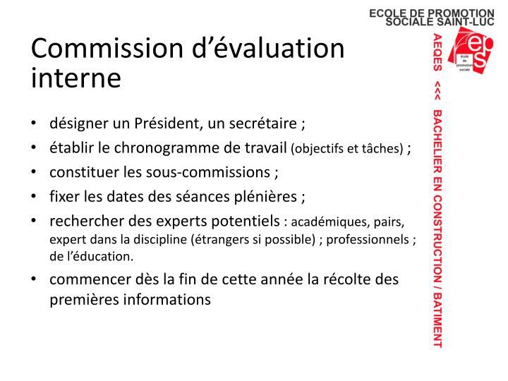 Commission d'évaluation interne