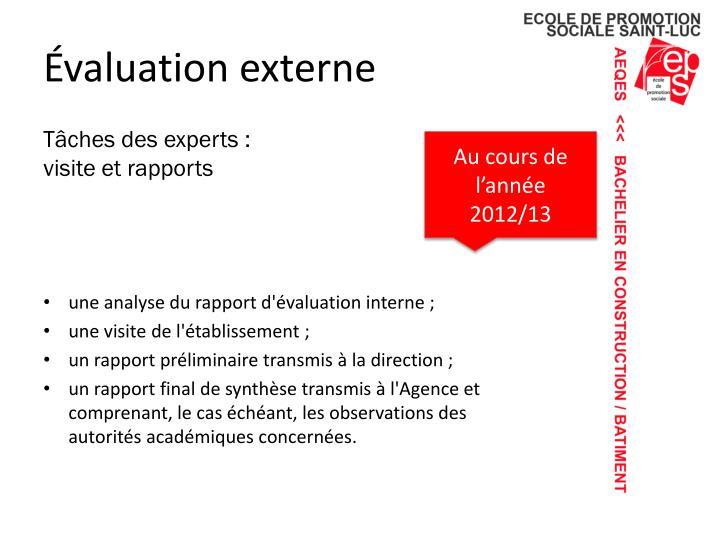 Évaluation externe