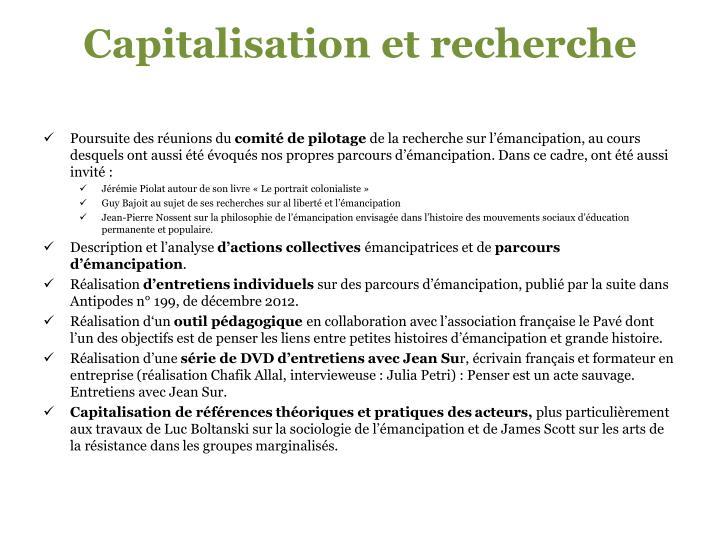 Capitalisation et recherche