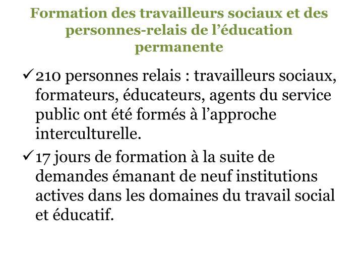 Formation des travailleurs sociaux et des personnes-relais de l'éducation permanente