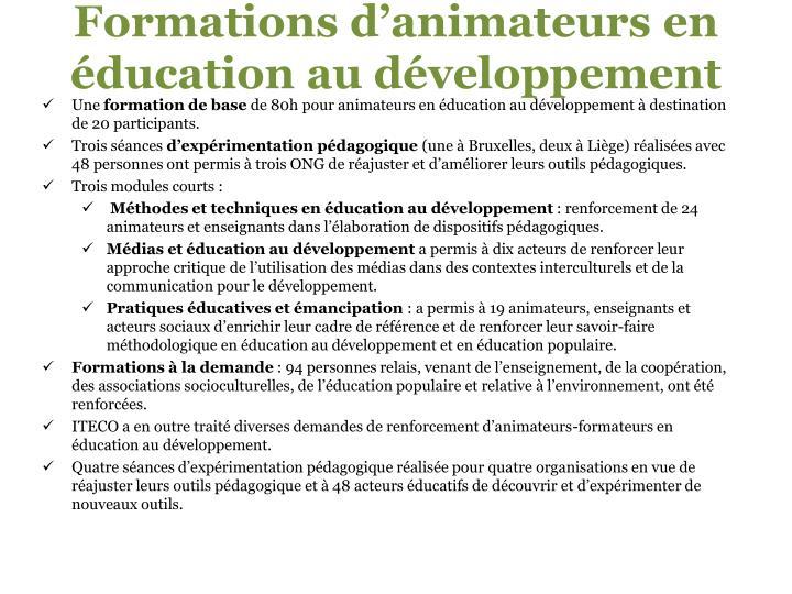 Formations d'animateurs en éducation au développement