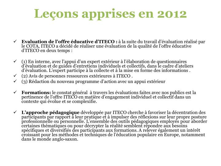 Leçons apprises en 2012