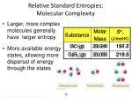 relative standard entropies molecular complexity
