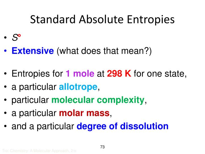 Standard Absolute Entropies