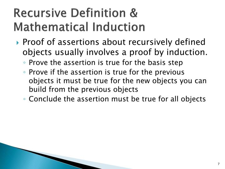 Recursive Definition & Mathematical Induction
