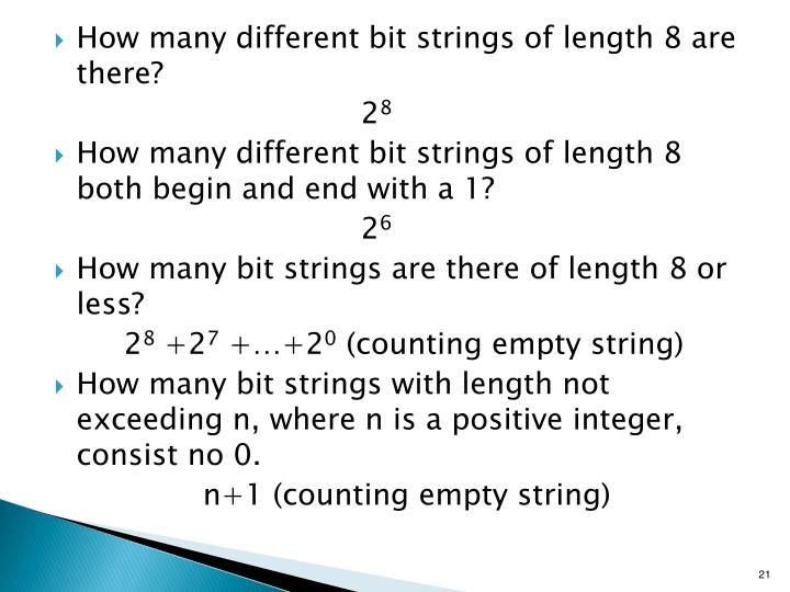 How many different bit strings of length 8 are there?