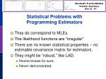 statistical problems with programming estimators