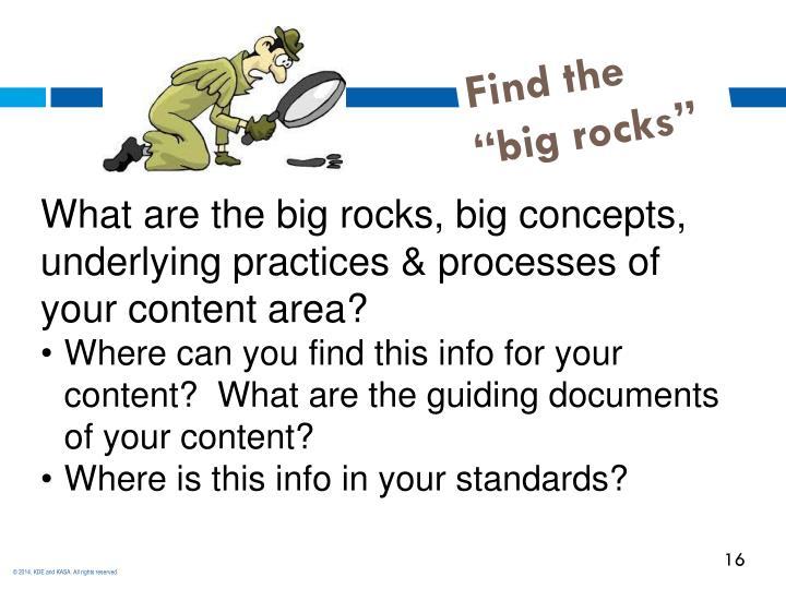 "Find the ""big rocks"""