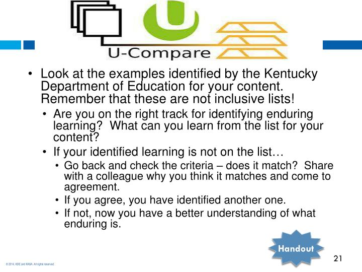 Look at the examples identified by the Kentucky Department of Education for your content.  Remember that these are not inclusive lists!