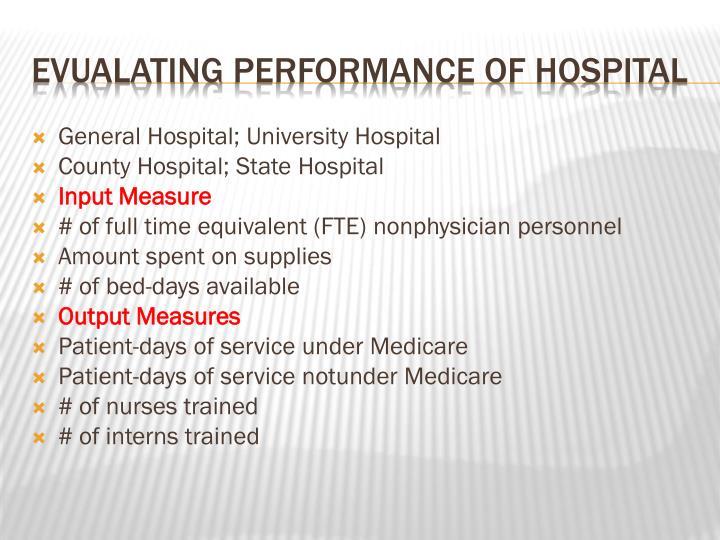 General Hospital; University Hospital
