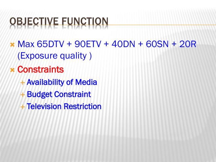 Max 65DTV + 90ETV + 40DN + 60SN + 20R (Exposure quality )