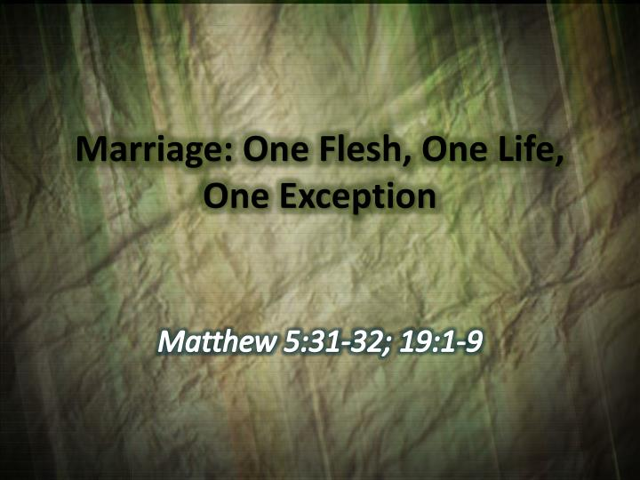 Marriage: One Flesh, One Life, One Exception