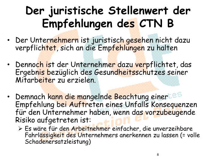 Der juristische Stellenwert der Empfehlungen des CTN B