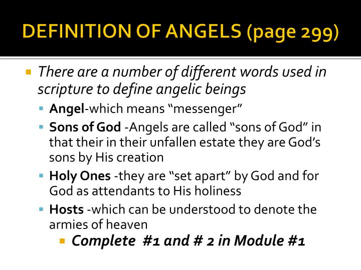 Definition of angels page 299