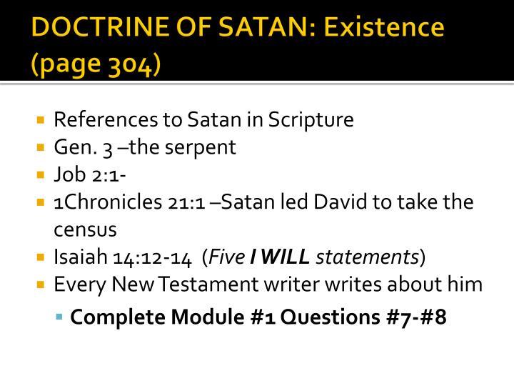DOCTRINE OF SATAN: Existence