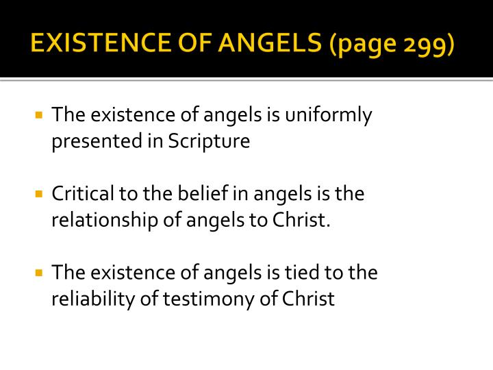 EXISTENCE OF ANGELS (page 299)