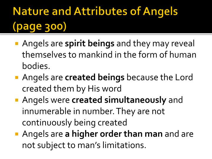 Nature and Attributes of Angels (page 300)
