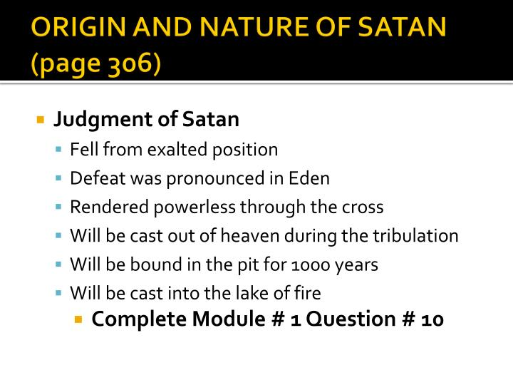 ORIGIN AND NATURE OF SATAN (page