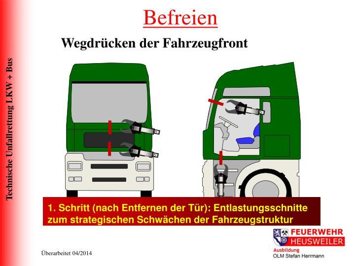 1. Schritt (nach Entfernen der Tür): Entlastungsschnitte zum strategischen Schwächen der Fahrzeugstruktur