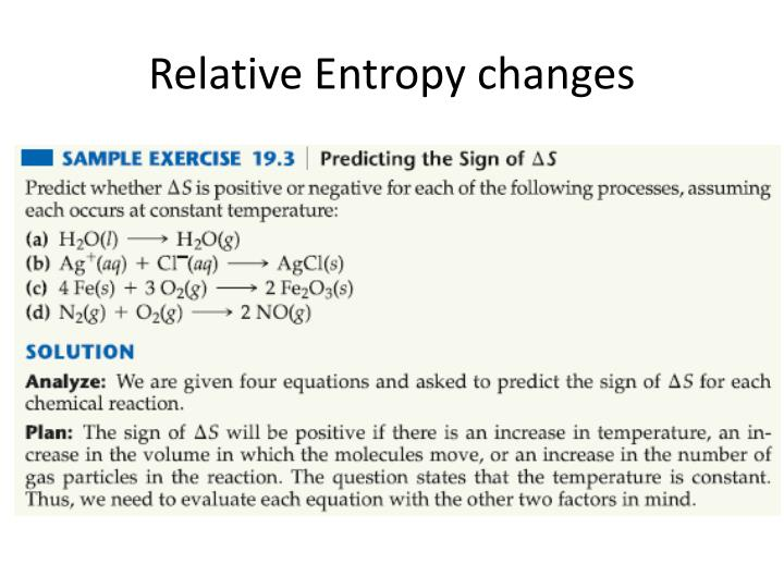 Relative Entropy changes