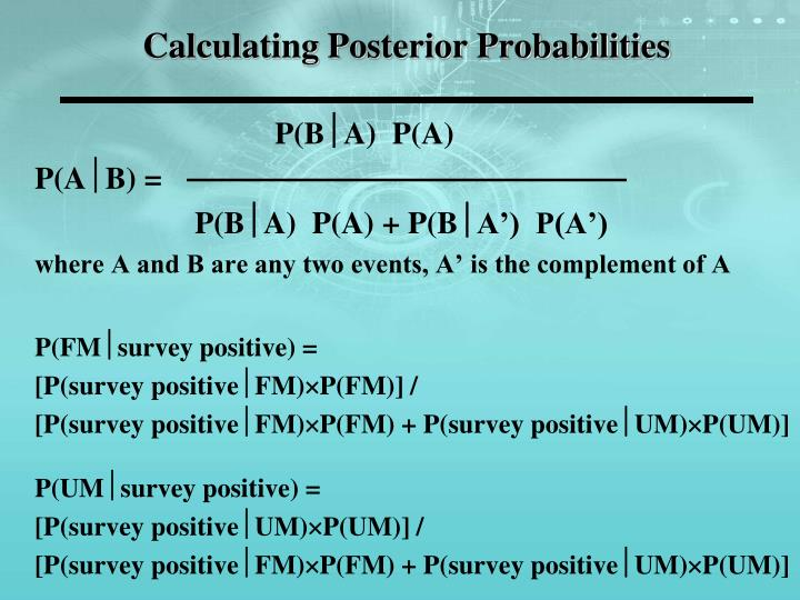 Calculating Posterior Probabilities