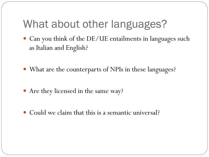 What about other languages?