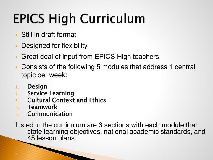 EPICS High Curriculum