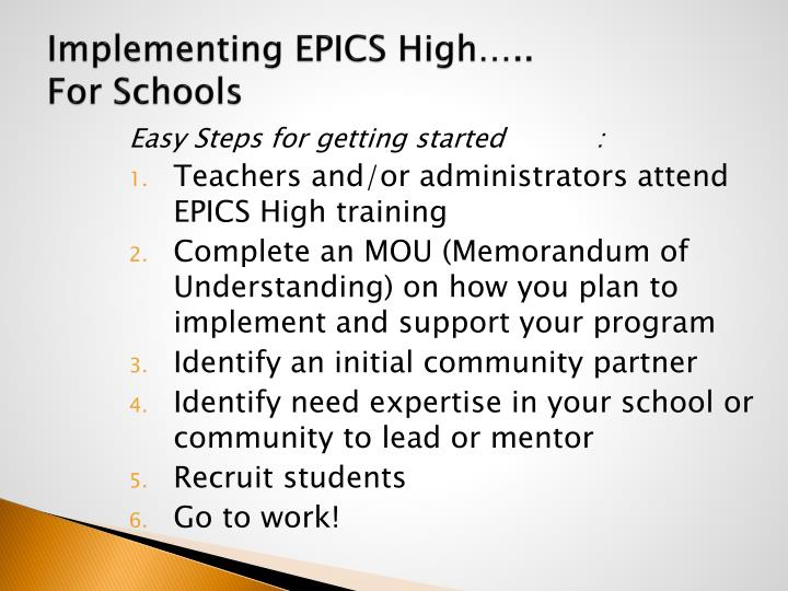 Implementing EPICS High…..