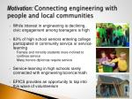 motivation connecting engineering with people and local communities