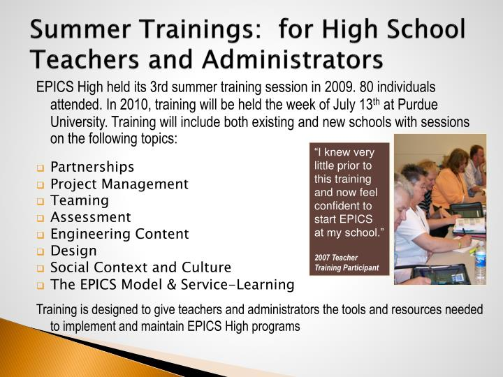 Summer Trainings:  for High School Teachers and Administrators