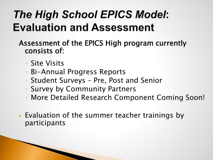 The High School EPICS Model
