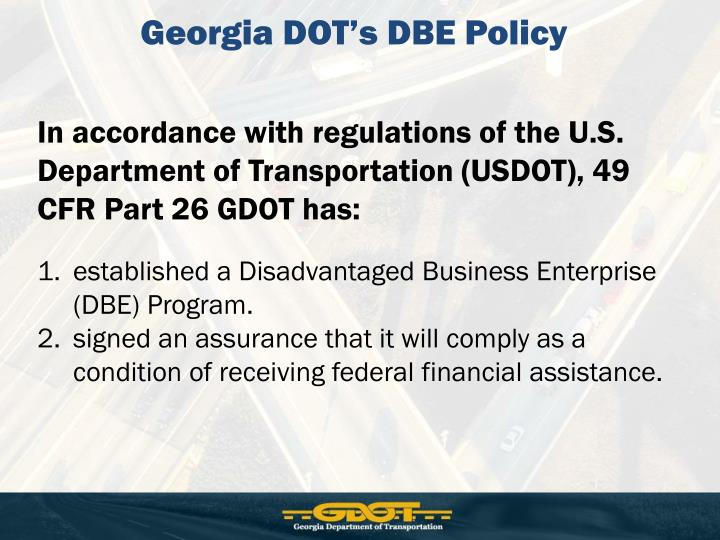 Georgia DOT's DBE Policy