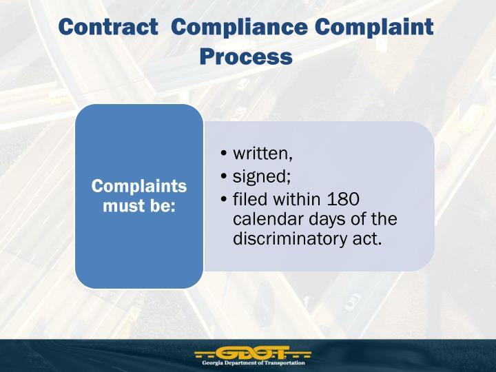 Contract  Compliance Complaint Process