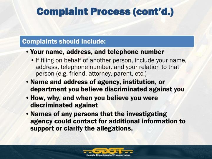 Complaint Process (cont'd.)