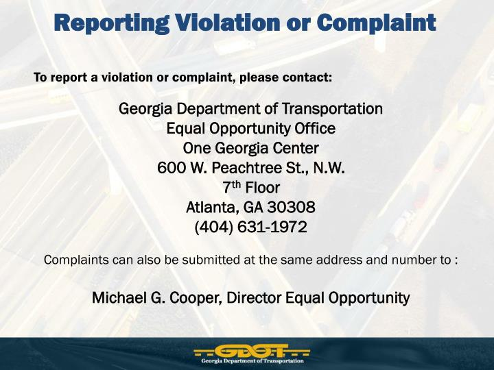 Reporting Violation or Complaint
