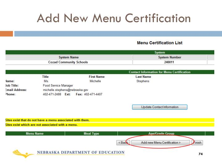 Add New Menu Certification