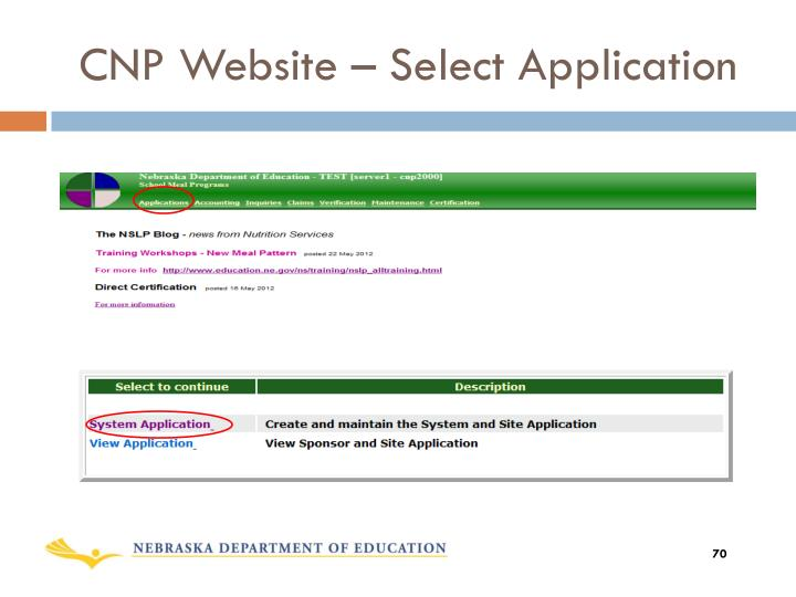 CNP Website – Select Application