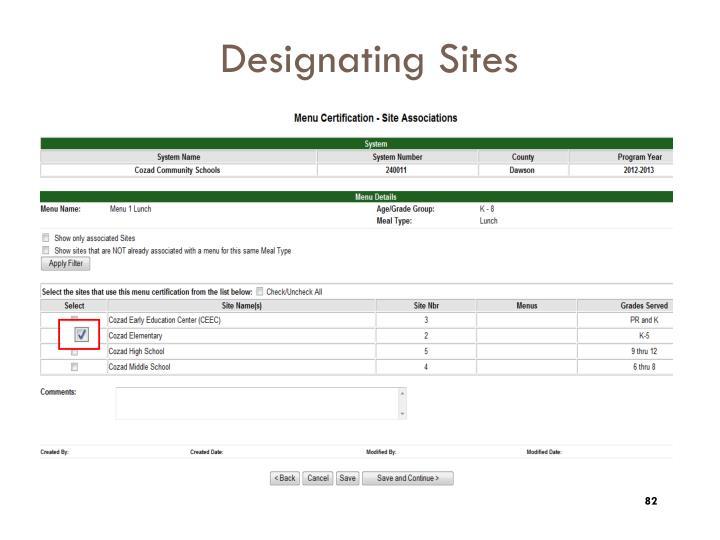 Designating Sites