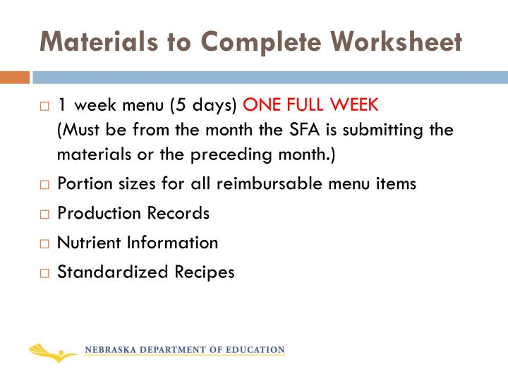 Materials to Complete Worksheet