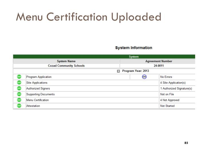 Menu Certification Uploaded