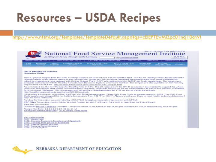 Resources – USDA Recipes