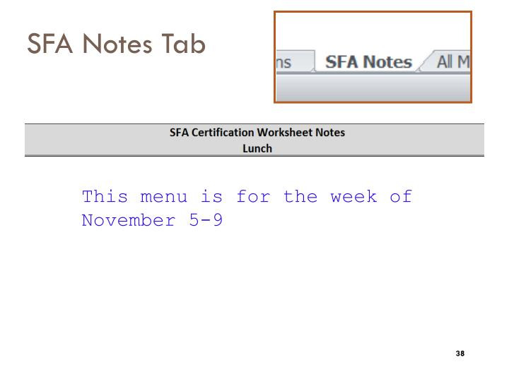 SFA Notes Tab