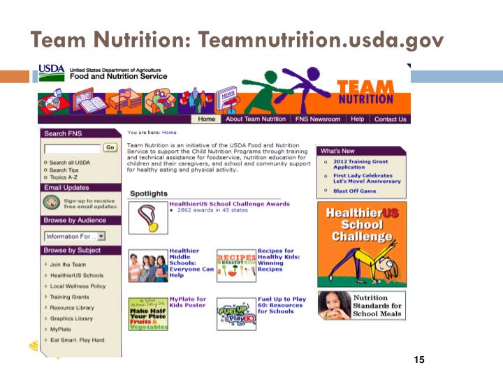Team Nutrition: Teamnutrition.usda.gov